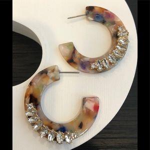 Marquise Stone Cluster Acetate Flat Hoop Earrings